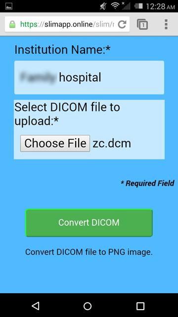 Upload DICOM file